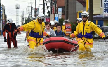 Massive flooding swamps Japan city