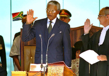Mandela had become the 1st black President of SA on this day