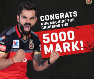 Kohli becomes the first batsman to score 5,000 runs for one team in IPL